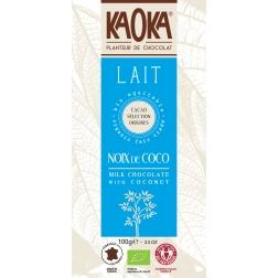Bio mléčná čokoláda s kokosem KAOKA 100 g