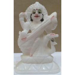 BOHYNĚ SARASVATI (ručně malovaná) - bílý mramor
